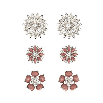 Faceted Stone & Rhinestone Flower Earrings - 3 Pack