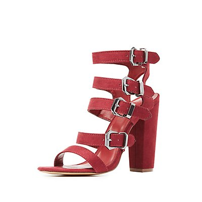Strappy Buckled Chunky Heel Sandals