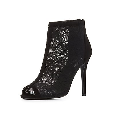 Lace Peep Toe Ankle Booties