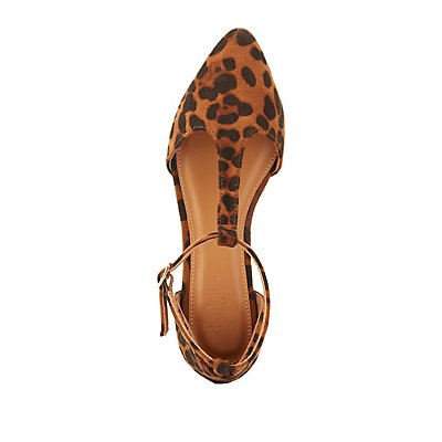 Leopard Pointed Toe T-Strap Flats