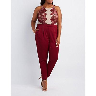 Plus Size Lace Bodice Jumpsuit