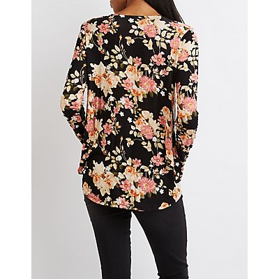Floral Strappy Surplice Top