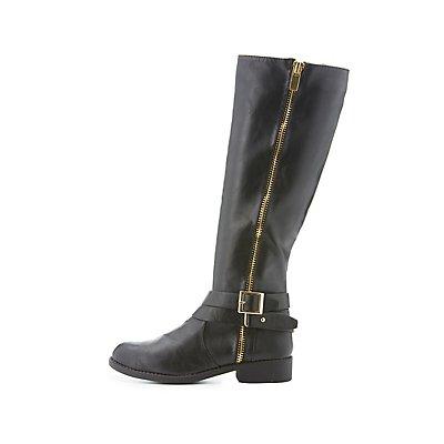 Bamboo Zipper-Trim Moto Boots