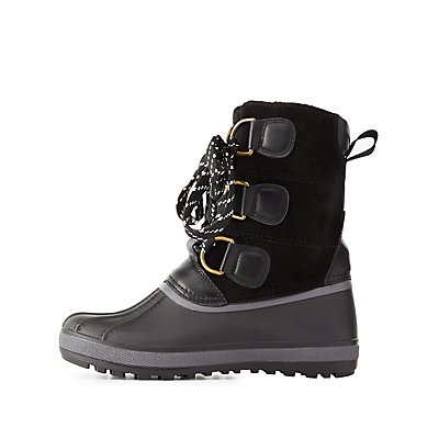 Bamboo Faux Fur-Lined Duck Boots