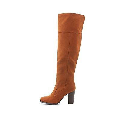 Bamboo Chunky Heel Knee-High Boots