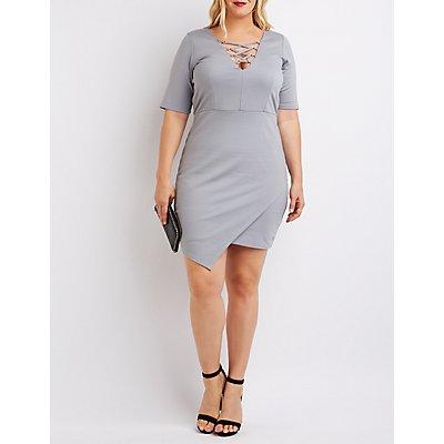 Plus Size Lace-Up Asymmetrical Dress
