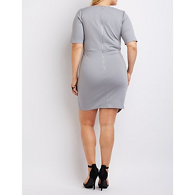 Plus Size Lace-Up Asymmetrical Dress