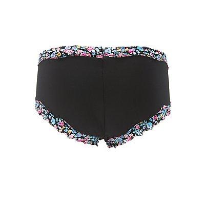 Plus Size Floral Lace-Trim Hipster Panties