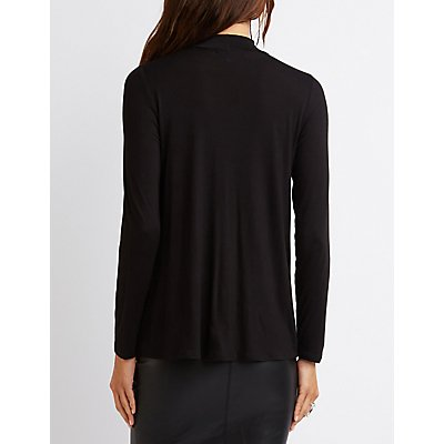 Mock Neck Wrap Top