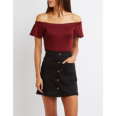Fitted Off-The-Shoulder Top
