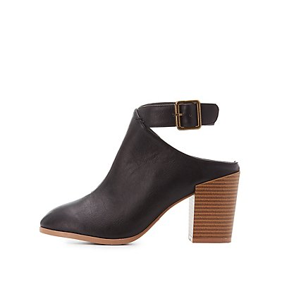 Qupid Buckled Cut-Out Heel Booties