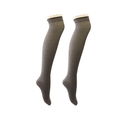Button & Lace Over-The-Knee Socks