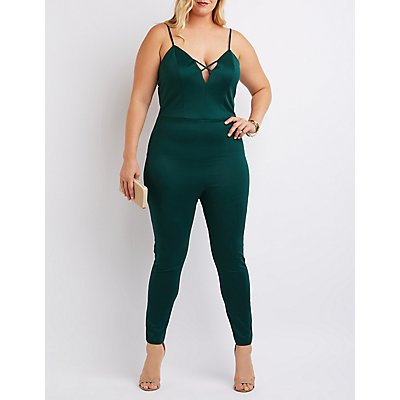Plus Size Strappy Caged Jumpsuit