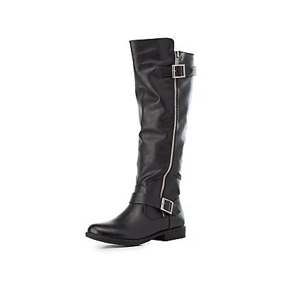 Bamboo Faux Fur-Lined Riding Boots