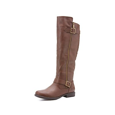 Bamboo Buckled Knee-High Boots