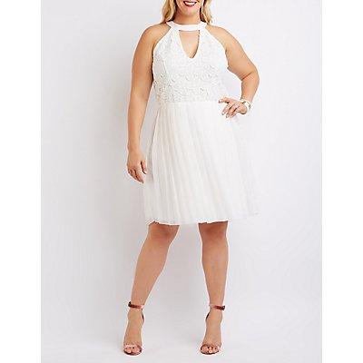 Plus Size Crochet Bodice Pleated Dress