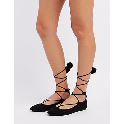 Bamboo Lace-Up Pom-Pom Pointed Toe Flats