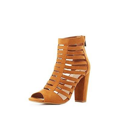 Bamboo Caged Peep Toe Sandals