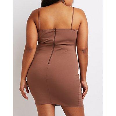 Plus Size Caged Lattice Bodycon Dress