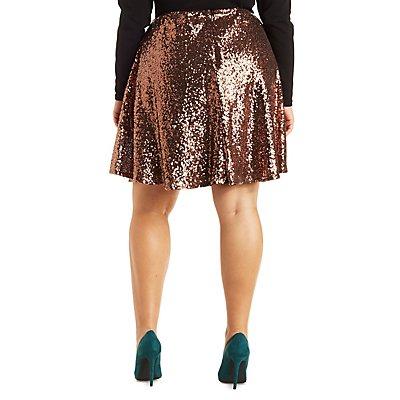 Plus Size Sequin Skater Skirt