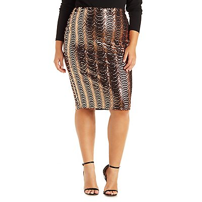 Plus Size Scalloped Sequin Pencil Skirt
