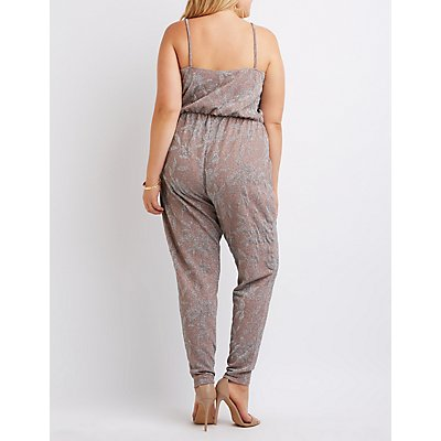 Plus Size Shimmer Strappy Jumpsuit