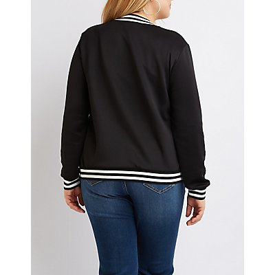 Plus Size Varsity Stripe Bomber Jacket