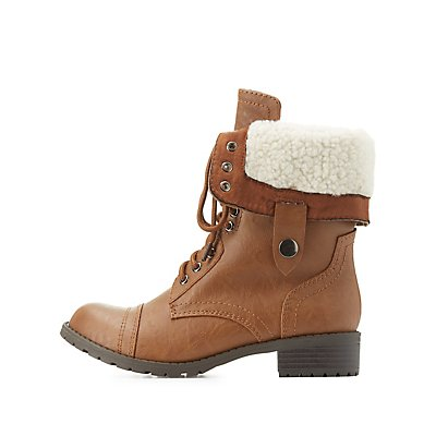 Shearling-Lined Combat Boots