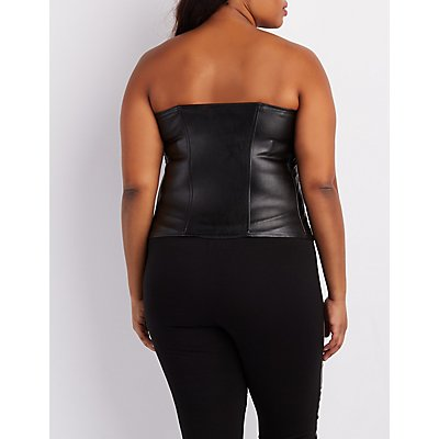 Plus Size Quilted Faux Leather Corset