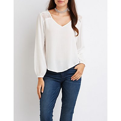 Lace-Trim Split Back Blouse