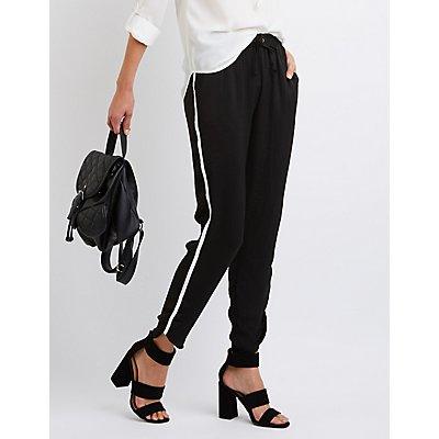 Striped-Side Dressy Jogger Pants