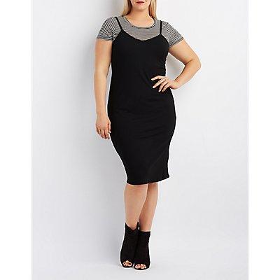 Plus Size Ribbed & Striped Layered Dress