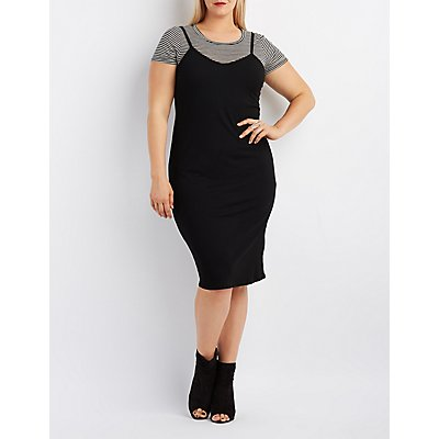 Plus Size Ribbed & Striped Layered Dress