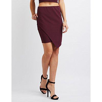 Textured Asymmetrical Wrap Skirt