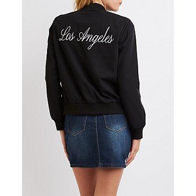 """Los Angeles"" Zip-Up Bomber Jacket"