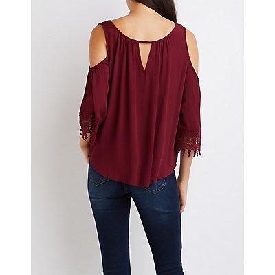 Crochet-Sleeve Cold Shoulder Top