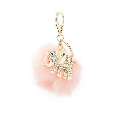 Embellished Elephant & Faux Fur Keychain