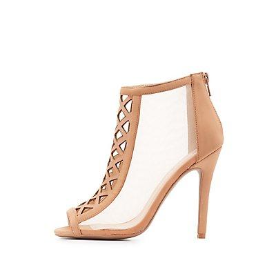 Qupid Laser Cut Peep Toe Dress Sandals