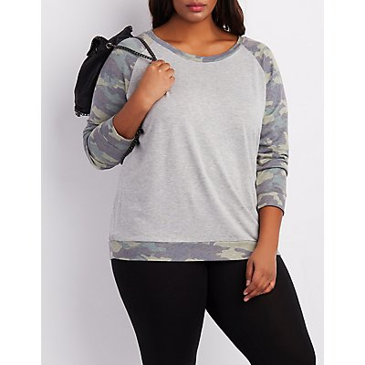 Plus Size Camo Raglan Sweatshirt