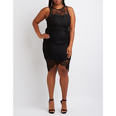 Plus Size Lace & Crochet Bodycon Dress