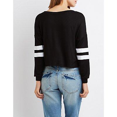 Cropped Varsity Stripe Sweatshirt