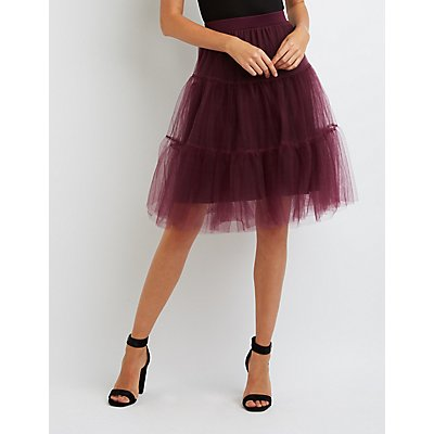 Tiered Tulle Full Midi Skirt