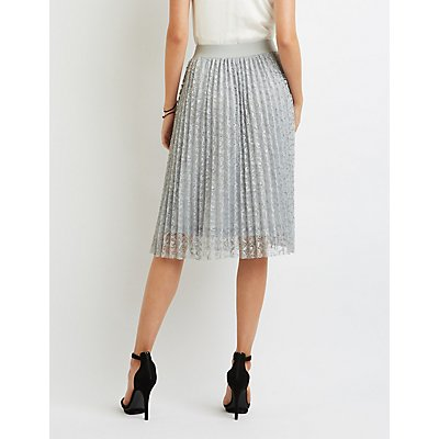 Lace Pleated Midi Skirt