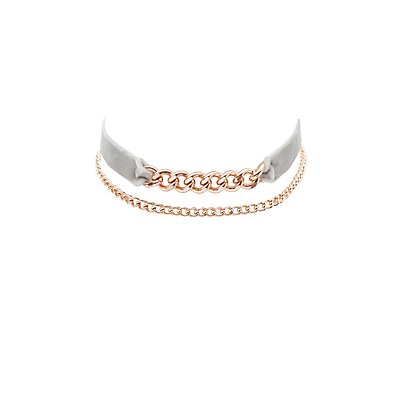 Velvet & Chainlink Choker Necklaces - 2 Pack