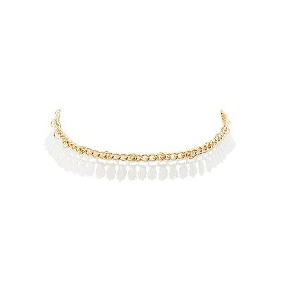 Crochet & Chain Fringe Choker Necklace