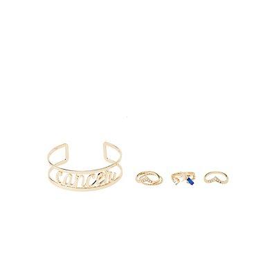 """Cancer"" Astrology Cuff Bracelet & Rings Set"