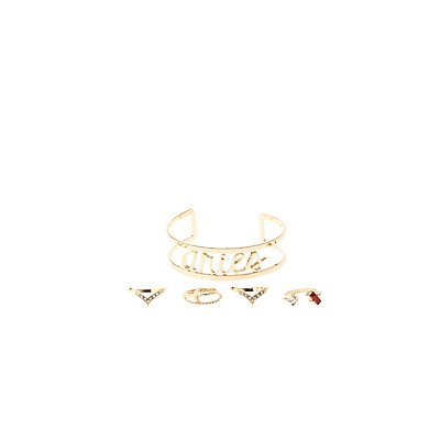 """Aries"" Zodiac Cuff Bracelet & Rings Set"