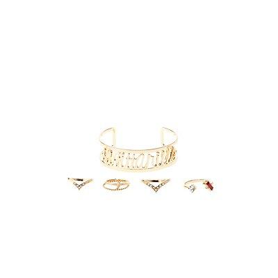 """Sagittarius"" Zodiac Cuff Bracelet & Rings Set"
