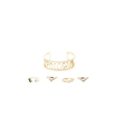 """Capricorn"" Astrology Cuff Bracelet & Rings Set"