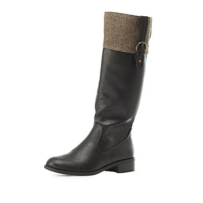 Wool-Trim Riding Boots